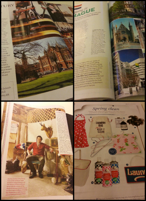 Clockwise, from top left: Visiting vintiquing fair, Midcentury Modern; Vintiquing in The Hague - travel feature with a curio-hunting twist; 30-year old James Gooch featured in the magazine's competition for dealers under 40; Spring clean shopping feature features fun, retro-inspired items.