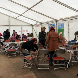 Arts workshops in the market marquee.