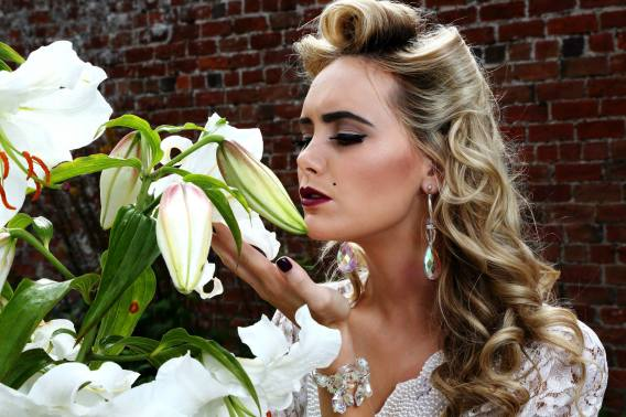 Some bridal jewellery with a vintage bridal dress - one of the shoots Melanie has worked on. Pic: Stephen Potter
