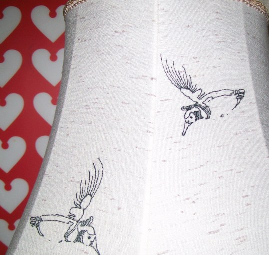 Hummingbird street art-inspired lampshade