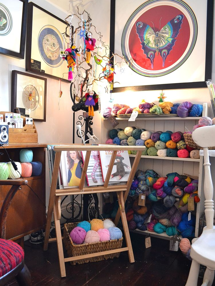 Inside the studio. Heaven! Mainly courtesy of Lighthouse Yarns!