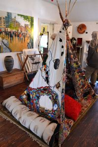 Emma's tepee! An ongoing work in progress that she invites people to add to.